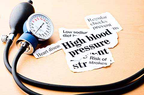 Image of a Blood Pressure Monitor and some text clippings about High Blood Pressure